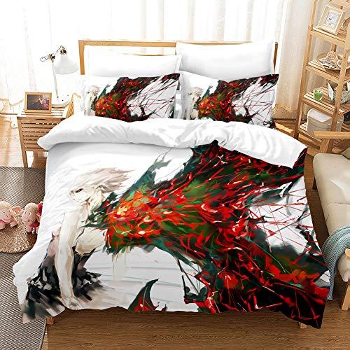 Totots Tokio Ghoul textiles for el hogar, ropa de cama Conjunto de Touka Kirishima hijos, Blanco Decoración del dormitorio, 3 piezas, 3D imprimió la cubierta del edredón, almohada suave y acogedor, Oc