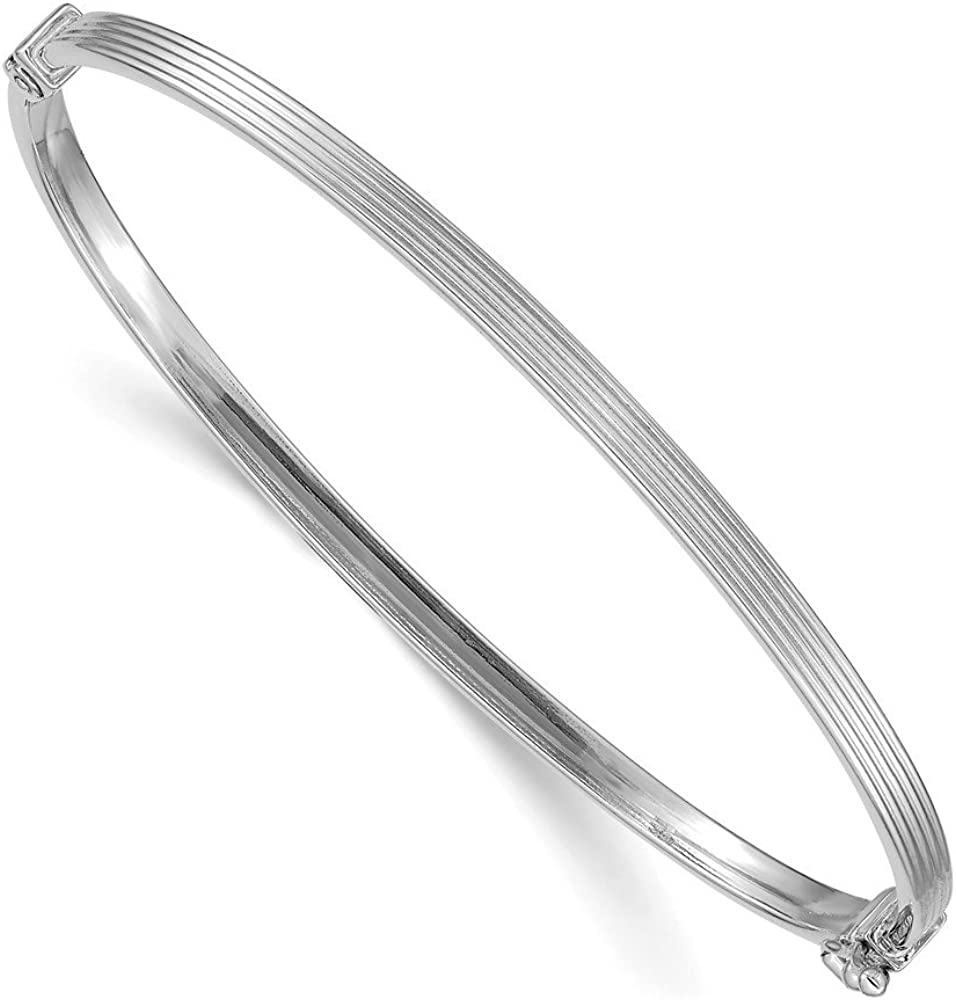 14k White Gold Textured Hinged Bangle Bracelet Cuff Expandable Stackable 7 Inch Fine Jewelry For Women Gifts For Her