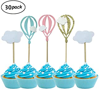 Pack of 30 Hot Air Balloon White Cloud Cupcake Toppers For Birthday Wedding Party Baby Shower Decoration