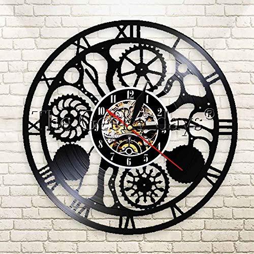 LPHMMD Vinyl Records Cogwheels Gears Klok Vinyl Record Wandklok 3D Hangende Horloges Steampunk Bedels Wandklok Modern Ontwerp