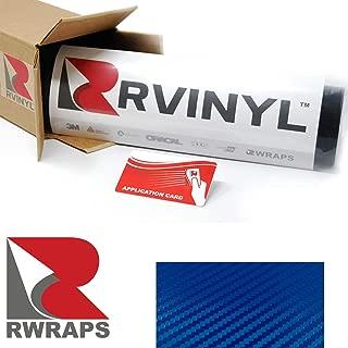 Rwraps 3D Blue Carbon Fiber 5ft x 1ft W/Application Card Vinyl Vehicle Car Wrap Film Sheet Roll