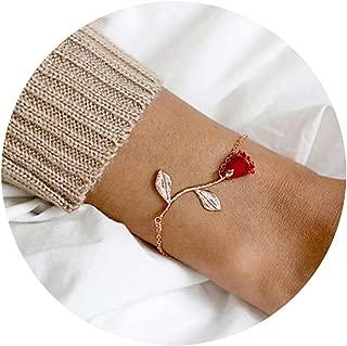 3D Rose Bracelet,Charm Gold Silver Personalized Rose Pendant Bracelet for Women Girls