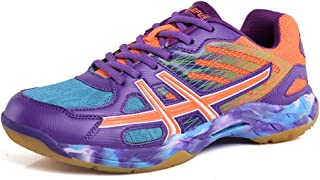 Unisex Volleyball Badminton Shoes Men Women Training Sneaker Lightweight Table Tennis Shoes for Indoor Court Running, Jogging Trainers Purple