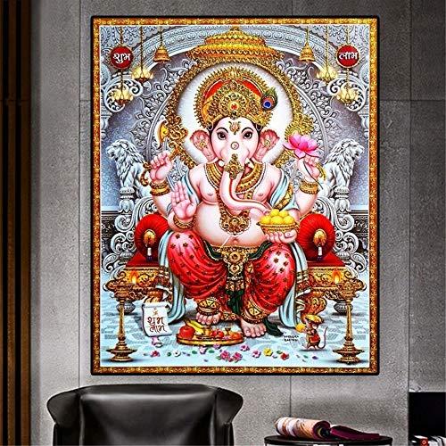 Ayjxtz Puzzle 1000 Piezas Estatua de Buda Budismo India Ganesha Lienzo Pintura Arte Krishna Imagen Puzzle 1000 Piezas Adultos Gran Ocio vacacional, Juegos interactivos familiares50x75cm(20x30inch)
