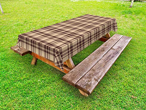ABAKUHAUS Tan en Brown Tafelkleed voor Buitengebruik, Ouderwetse Tartan, Decoratief Wasbaar Tafelkleed voor Picknicktafel, 58 x 120 cm, tan Brown