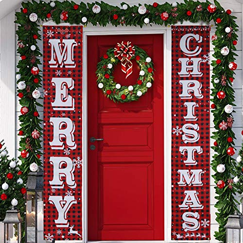 KERIQI Christmas Decorations Outdoor Merry Christmas Porch Sign, Buffalo Plaid Christmas Banner for Front Door Indoor Porch Home Wall Hanging Decor