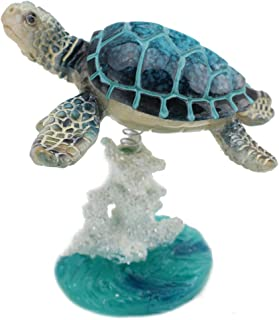 Swimming Sea Turtle On Glazed White Blue Coral Base Statue ~ Wiggles Jiggles Sea Creature on Coral Reef Figurine on a Spring Centerpiece Tabletop Decor (G16623) ~ We Pay Your Sales Tax
