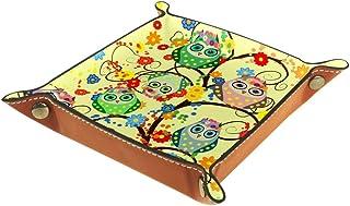 BestIdeas Panier de rangement carré 20,5 × 20,5 cm, avec motif de chouettes colorées, boîte de rangement sur table pour la...
