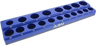 ABN Magnetic Socket Organizer Tray – Metric 1/2in Socket Holder Magnetic Tool Organizer 19 Slot Blue Holder