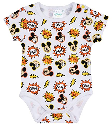 Disney Mickey Babies Boys Body bebé - Blanco - 18M