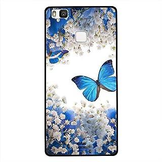Huawei P9 Lite Case Cover Blue Butterflies on White Roses, Moreau Laurent Premium Phone Covers & Cases Design