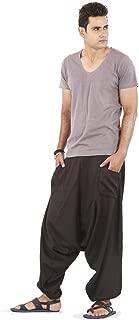 Mens Baggy Wide Leg Harem Linen Pants - Drop Pockets Style