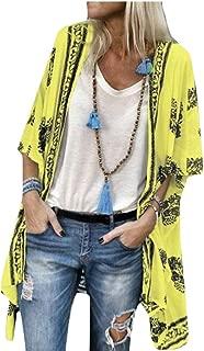 Womens Half Sleeve Bohemia Print Loose Cardigan Long Shirt