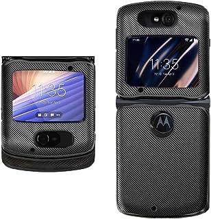 Hacker's Phone Case Compatible withMotorola Razr 5G VersionClassicCarbon Fiber Pattern PU Leather Back Cover (Black)