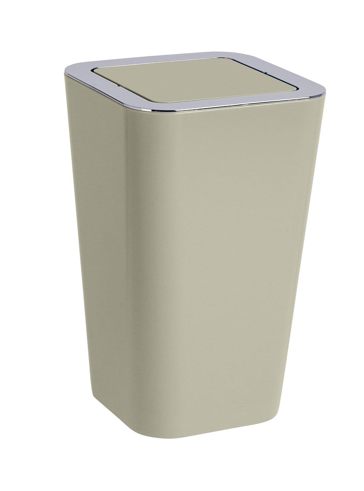 Wenko Kosmetikeimer Candy 8 Liter, Badezimmer-Mülleimer mit Schwingdeckel,  Abfalleimer aus Kunststoff, 8 x 8,8 x 8 cm, taupe