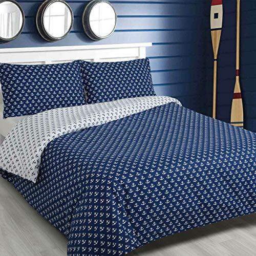 Traumschlaf Wendebettwäsche Marina Blue Anker 1 Bettbezug 135x200 cm + 1 Kissenbezug 80x80 cm