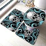 Aubrdon Blauer Oktopus Kraken Sugar Skull 3-teilige Badezimmer-Pads Beinhaltet Anti-Rutsch-Pads Badematte + Kontur + Toilettendeckelabdeckung
