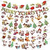 *LAITER 7 *Pcs Pancarta Nadalenca de Paper Garlanda Penjant per a Interiors i Exteriors per a Botiga a casa Bàner *Bunting de Dibuixos Animats Multicolor amb Patró Barret de Santa Claus *Sapon