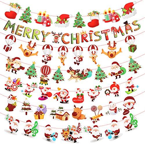 LAITER 7 PCS Natale Banner Decorazione Buon Natale Ornamenti del Fumetto Babbo Natale Cappello Candela Casa Cartoni Animati Paracadute Vecchio Uomo Alfabeto Inglese Aumenta Atmosfera Natalizia