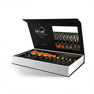 WUNDER2 OH!VAL Professional Makeup Brushes for Liquid and Powder Makeup - Premium Oval Makeup Brush Set for Face, Eyes, Brows, Lips, 10pcs