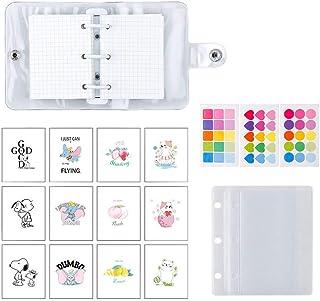 Mini Binder Pockets,3-Hole Refillable Notebook Accessories Set, Transparent PVC Loose-Leaf Notebook,Including 70 Internal ...