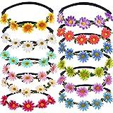 12 Stücke Mehrfarbig Damen Mädchen Mode Blume Krone Floral Garland Stirnbänder für Festival Hochzeit