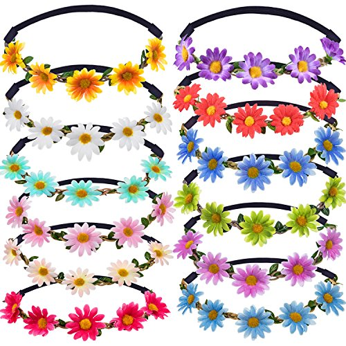 12 Pieces Multicolor Lady Girl Fashion Flower Crown Floral Garland Headbands for Festival Wedding Party