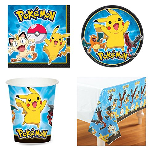 Pokemon Pikachu & Friends Birthday Party Tableware Pack for 16 by Balloons and Party