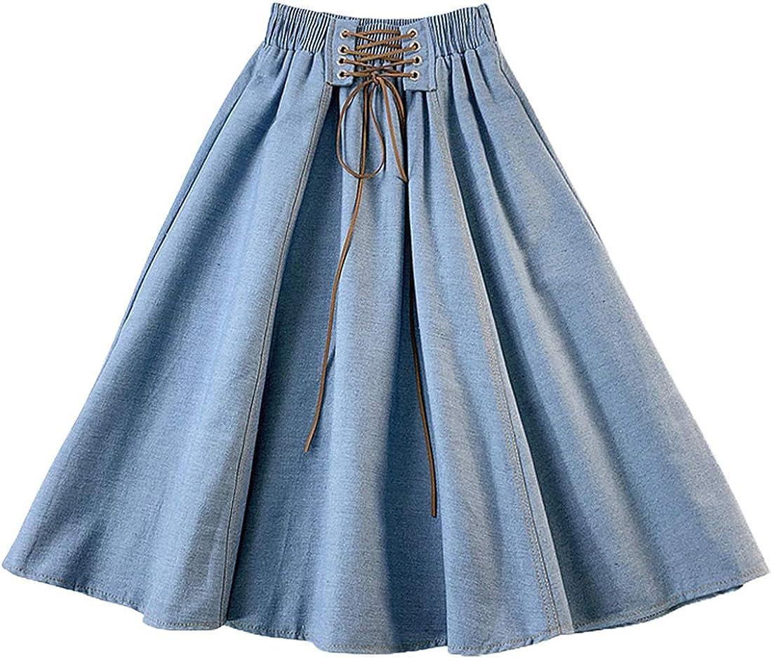 CHARTOU Women's Vintage Lace Up Elastic Waist Flared Pleated A-Line Midi Denim Skater Skirt