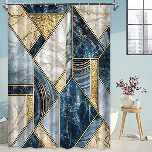 Blue Gold Marble Shower Curtains for Bathroom, Modern Luxury Geometric Fabric Bathroom Curtains Extra Long Heavy Duty Waterproof Washable, 72x72 Inches