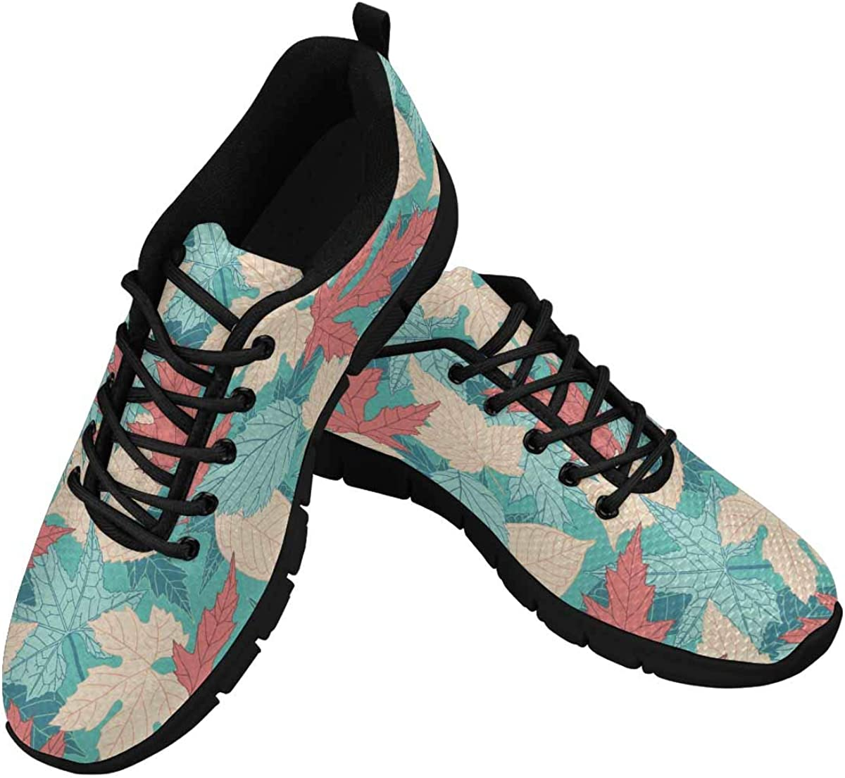 INTERESTPRINT Leaves on Blue Background Women Walking Shoes Comfortable Lightweight Work Casual Travel Sneakers