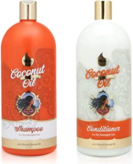 Mera Amla Indian Oil - Shampoo & Conditioner Set - Chia and Coconut Oil for Dry Damaged Hair 32oz each (Set of 2)