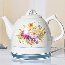 Elektrische keramische draadloze waterkoker theepot-retro 1L kan,snel water voor thee,koffie,soep,havermout-verwijderbare ...