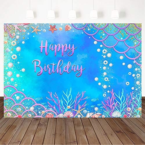 Avezano Under The Sea Birthday Backdrop, Mermaid Scales Birthday Party Decorations Under The Water Starfish Pearls Birthday Party Banner Photography Background (7x5ft)
