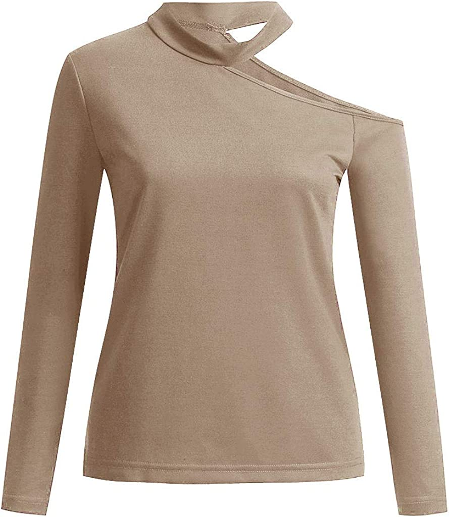 Solid Color Round Neck Long Sleeve Casual Fall Shirts Blouse Tops Pullover Tees One Off Shoulder t-Shirt for Women