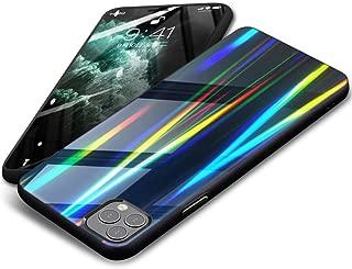 iPhone 11 Pro Max ケース 耐衝撃 背面強化ガラス+TPU ラップホール付き 高級感 黄変防止 オシャレ 軽量 ワイヤレス充電 衝撃吸収 カメラ保護 取り付けやすい 薄型 ガラス面へのスクラッチ防止 携帯カバー 黒 D25-39