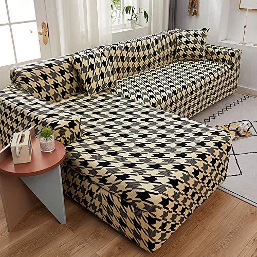 Funda de Fofá Elástica Fundas de sofá de 4 plazas con Estampado de celosía en Forma de L para Sala de Estar, Fundas elásticas Antipolvo Protectoras de sofá para Esquinas