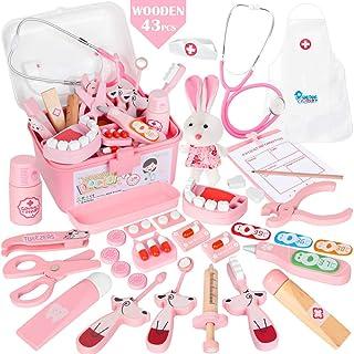 Vanplay 43 Stycken Träläkarkit för Låtsaslek med Funktionellt Stetoskop Leksaker för Flickor, Rosa