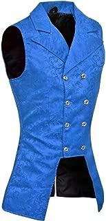 Darkrock Men's Double Breasted Royal Blue Governor Vest Waistcoat VTG Brocade Gothic Steampunk /