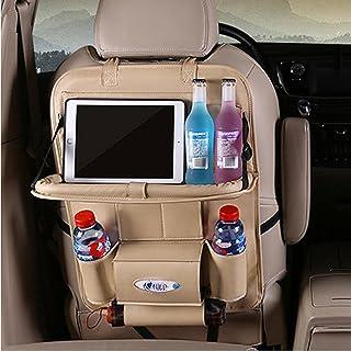 UTOBY Bilryggstödsskydd multifunktionell vattentät bilbarnstol arrangör i PU-läder med vikbar bil matbord surfplattehållar...