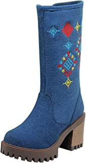 Wllsagl Xouwvpm Wedge Thick Heel Boots,Women's Denim Embroidery Belt Round Toe Thick Heel Shoes Western Knight Middle Tube Ankle Boots