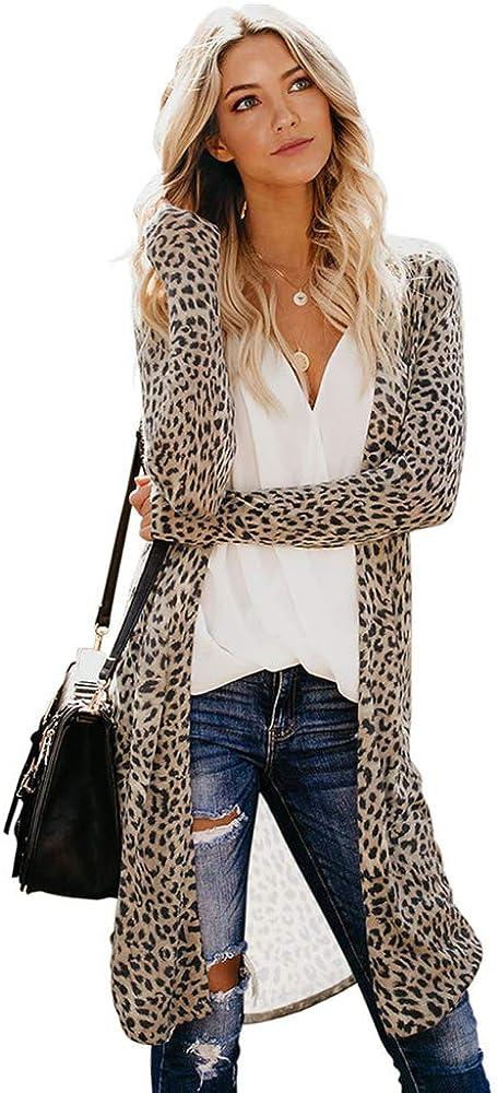 Women's Open Front Cardigan Camouflage Leopard Snake Print Jacket Outwears Tops