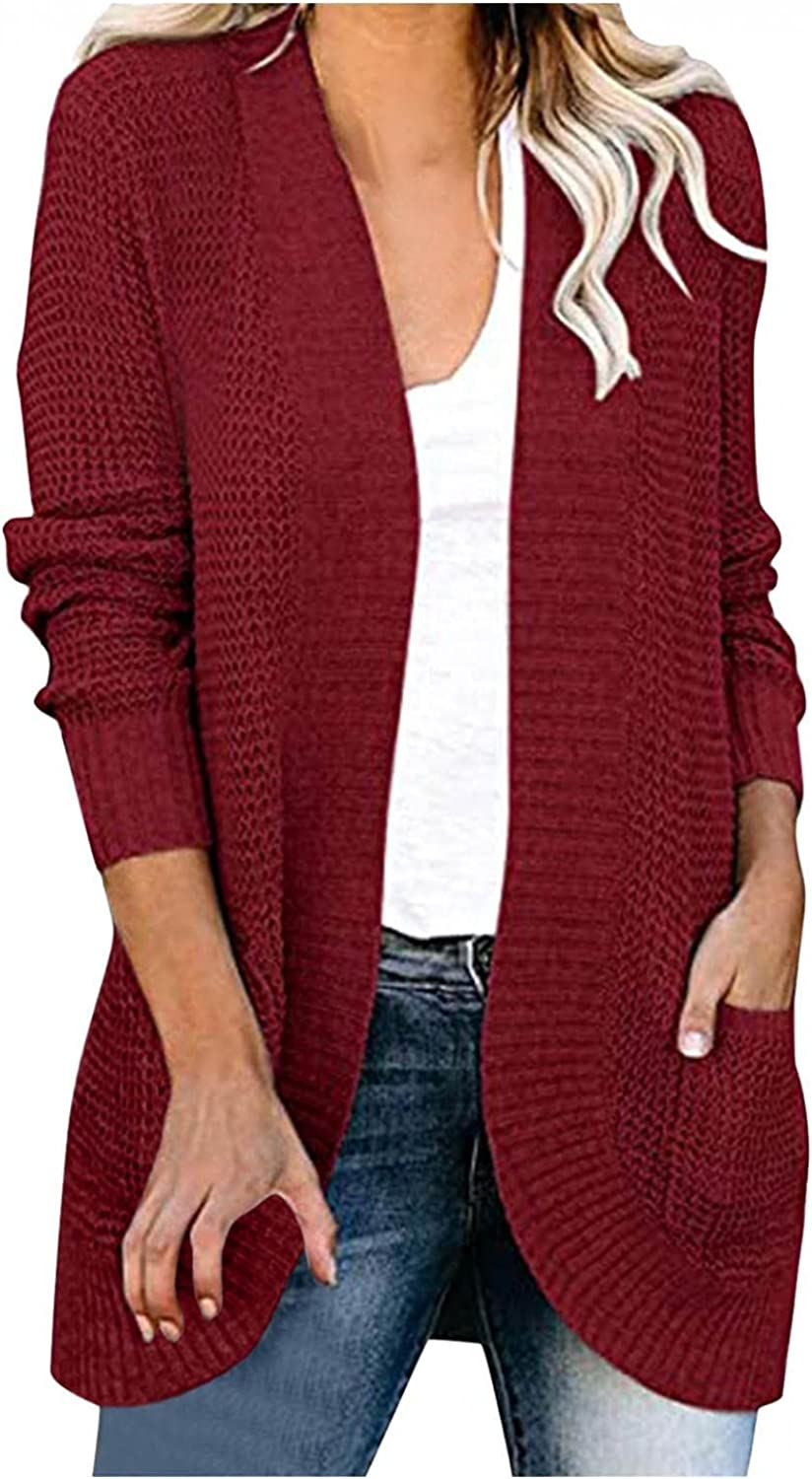 KYLEON Womens Solid Slim Fit Long Waterfall Kimono Cardigan Pockets Long Sleeve Open Front Casual Knit Sweaters Coat Outfit