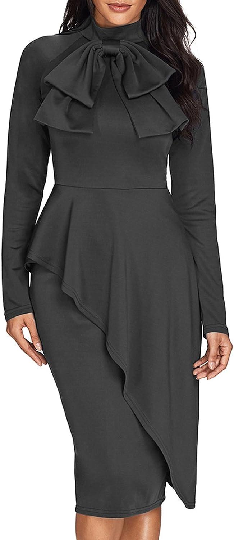 CICIDES Womens Tie Neck Peplum Waist Long Sleeve Bodycon Business Dress(5color SXXL)