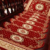 KEYAMA Acrylic Set of 15 Indoor Floral/Flowers Bullnose Carpet Stair treads Free Tape Non-Slip Stair Carpet Treads Carpet Staircase Decorative Area Rugs 9' W x 31' L Red 059