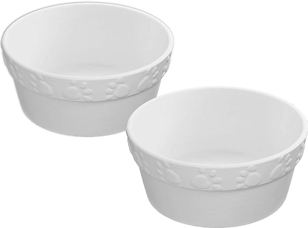 Cute Paw Print Dog Cat Bowl - Set of 2 - Host Your Own Pet Ceramic Painting Party
