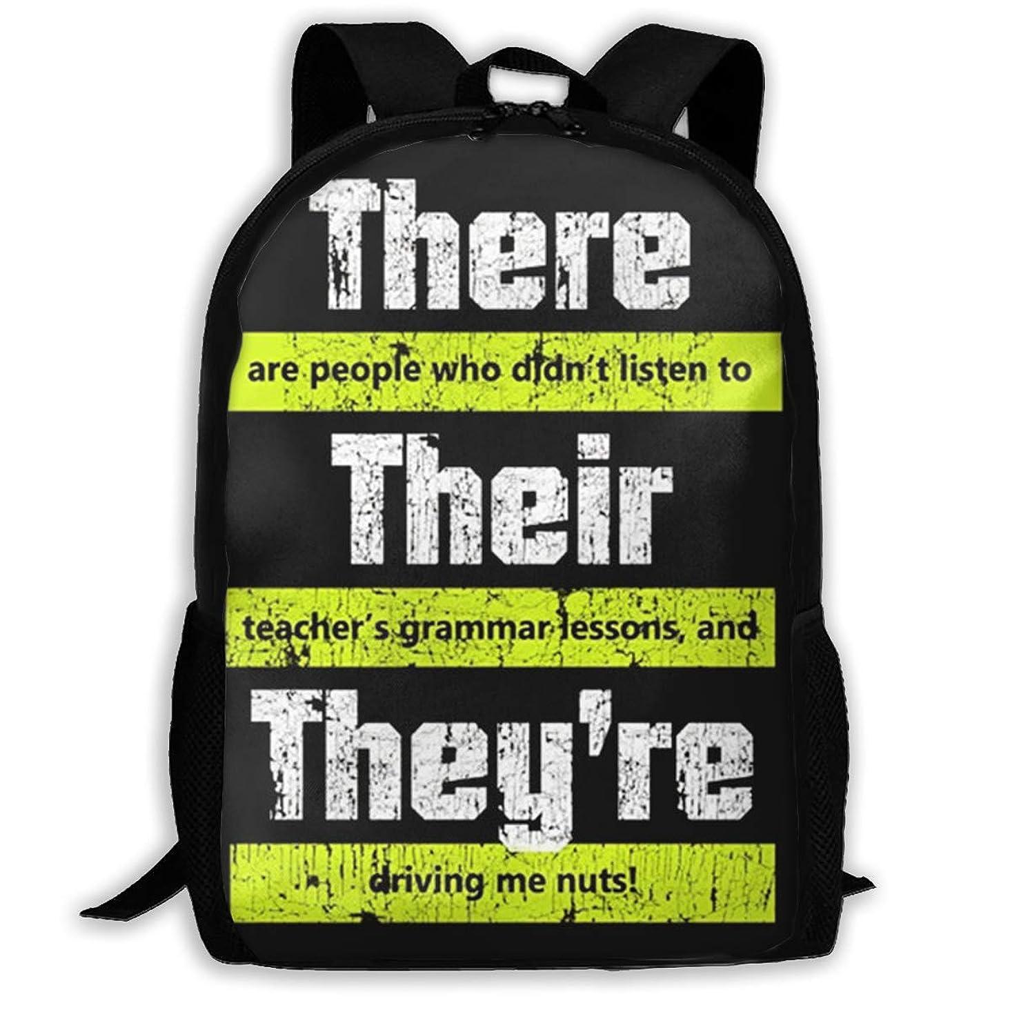 Diviviya Funny English Teacher Grammar Laptop Outdoor Backpack,Travel Hiking&Camping Rucksack Pack,Casual Large College School Daypack,Shoulder Book Bags Back