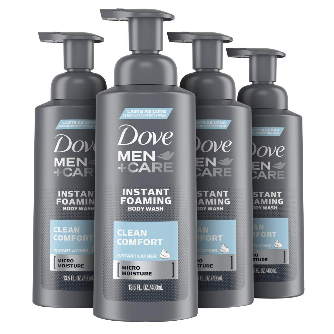 Dove Men+Care Foaming Body Wash to Hydrate Skin Clean Comfort Effectively Washes Away Bacteria While Nourishing Your Skin 13.5 oz 4 Count : Beauty