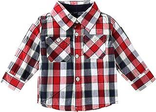 635a3736b SNOW DREAMS Baby Boys Plaid Shirt Long Sleeve Turn-Down Collar Cotton Button  Down Shirts