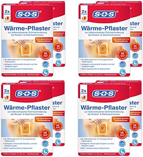 SOS Wärme-Pflaster, zur Schmerzlinderung bei Muskel- und Gelenkschmerzen, lösen Verspannungen mit bis zu 8 Stunden effektiver Wärme, 1 x 2 Pflaster (8er Pack (Prime))